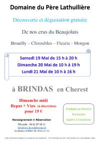 DEGUSTATION DU DOMAINE DU PERE LATHUILIERE LE WEEK - END DE PENTECOTE  A BRINDAS (69126)